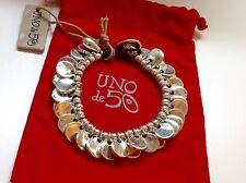 """NWT Uno de 50 Silvertone Bracelet 7"""" Chapa-roon"""""""