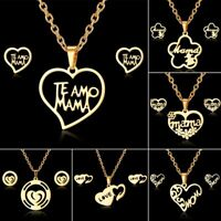 Charm Stainless Steel MOM Heart Flower Chain Necklace Earrings Jewelry Set Gifs