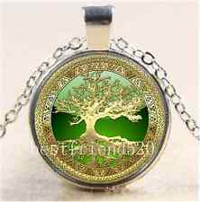 Celtic Gold/Green Tree Of Life  Glass Cabochon Tibet Silver Chain Necklace