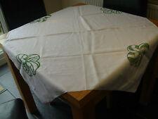 VINTAGE Bianco Cotone Lino Tovaglia 44.5 x 40.5 in insolito ricamo verde