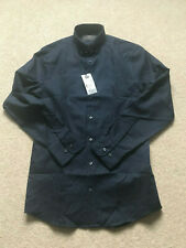 Brand New Mens M&S Marks & Spencer Mens Slim Fit Navy shirt - Sz 14.5 with tags