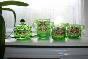 Northwood Mosser Opalescent Green Glass Cherry & Cable Butter Spooner Sugar Crea