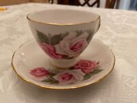 Royal Vale Fine Bone China Teacup and Saucer White With Pink Roses