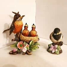 Set of 2 Andrea by Sadek Robin With Babies in Nest 9647 & Chickadee 6350 Figurin