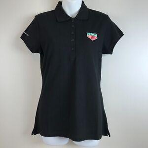 Tag Heuer Polo Golf Shirt womens Large Black Short Sleeve