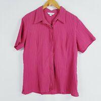Kathmandu Womens Size 20 Pink Textured Striped Collared Shirt Short Sleeves