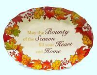 """Cracker Barrel 18"""" Thanksgiving Oval Serving Platter, Fall Leaves + Sentiment"""