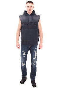 RRP €395 DSQUARED2 Hoodie Size S Printed Inscriptions Sleeveless Made in Italy