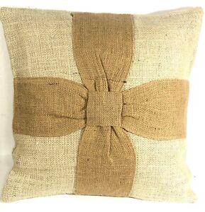 Burlap Pillow Cover Primitive Ecru with Natural Ribbon 16x16 Inches