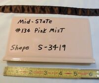 """1 pc. Glossy *Pink Mist* 4"""" X 6"""" Ceramic Cove Base Tile by Mid-State, Bullnose"""