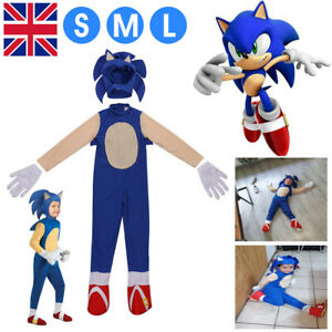 Kids Boys Sonic The Hedgehog Jumpsuit Cosplay Costume Fancy Dress Party Outfits