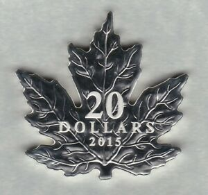 BOXED 2015 THE CANADIAN MAPLE LEAF SILVER FROSTED PROOF $20 WITH CERTIFICATE.