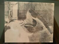 Vintage Framed Pencil Drawing Nude Titled Distance by Chela