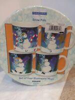 """The Sakura Table Zulauf Set 4 Stoneware Snowmen """"Snow Pals"""" Christmas Mugs NIB"""