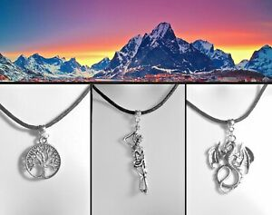 Lord of the Rings Thong Necklace White Tree of Gondor Dragon Smaug Barrow-wight