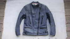 vintage WOLF blue leather motorbike jacket sz 36 S motorcycle biker punk rock
