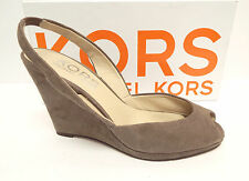 KORS by Michael Kors Size 8 Gray Suede Wedge Slingback Heels Shoes