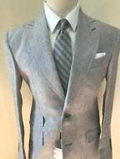 Grey shark skin luxury linen suit in top Loro Piana fabric/wide peak lapel