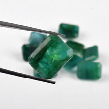 Natural Green Emerald 100 Ct./10 Pcs Zambian Emerald Cut Loose Gemstones Lot