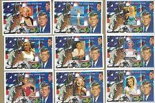 MARLYN MONROE + JF KENNEDY Souvenir Sheet Lot X9 Sc# 729 MNH Madagascar - E34