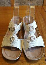 Gabor Womens White Leather Wedge Sandals - UK Size 7.