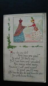 'How Do You Do? And How Are You?' Friendship Greetings L.F. Pease Postcard