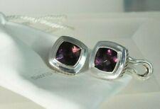 David Yurman 925 Silver Purple Amethyst 11 mm Large Albion Earrings With Pouch