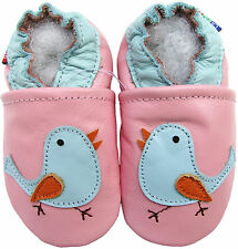 carozoo soft sole leather toddler shoes bird pink 2-3y