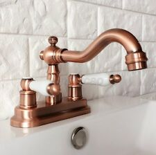 Antique Red Copper Swivel Kitchen Bathroom Sink Faucet Lavatory Mixer Tap Krg048
