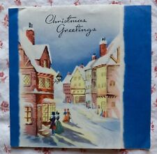 Vintage 1940s Christmas Greeting Card Victorian Townspeople in Snowy Village