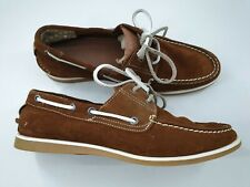 Jones size 8 / 9 (42) tan brown suede deck shoes flat casual lace up loafers