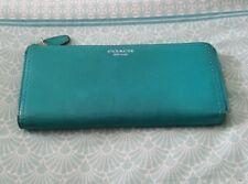 COACH Aqua Leather Zip Wallet Purse