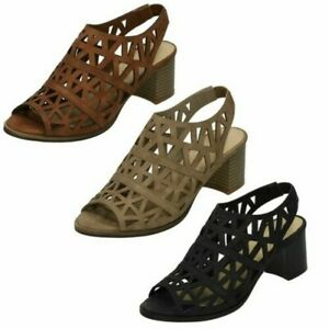 Ladies Spot On Triangle Punched Mid Heel 'Sandal'