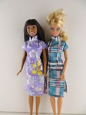 Set of 2 Colorful Asian Inspired Dresses Made to Fit Barbie Doll