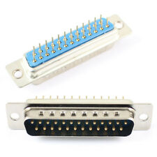 10Pcs D-SUB 25 Round Pin Male Straight Through Hole PCB Connector 2 Row DB25M