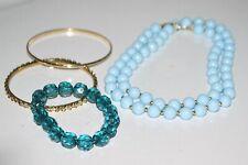 Vintage Necklace and Bracelet Jewelry Set Long Powder Blue & Gold Beaded Strand