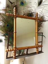 """Original Vintage French Small Faux Bamboo Wall Hanging Mirror 16"""" x 18"""""""