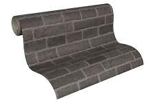 Grey Black Brick Wallpaper Embossed Textured Finish L@@k's Almost Real