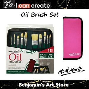 AU Mont Marte Oil Paint Brush Set Art Painting Drawing in Wallet Artist Craft