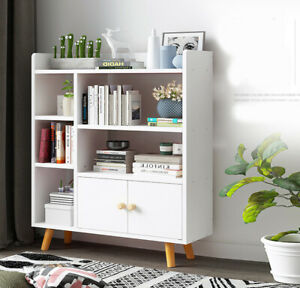 Modern White Cube Wooden Bookcase Shelving Display Storage Shelf Unit Bookshelf