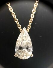 Solitaire Pear Diamond 0.7-0.8 Ct M VS GIA Pendant Necklace 14k Gold Birthday