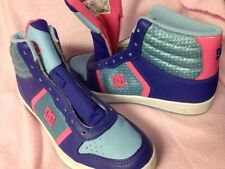 Dc D C DC Sneakers Pink Purple Blue High Tops Size 8