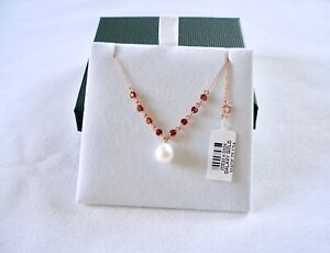 Galaxy Gold - 8 mm Pearl Solitaire with 1.0 Ct. Garnet  14k Rose Gold Necklace