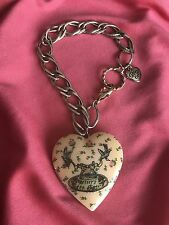 Betsey Johnson Vintage Betsey's Tea Party Pink Heart Locket Rose Bud Bracelet
