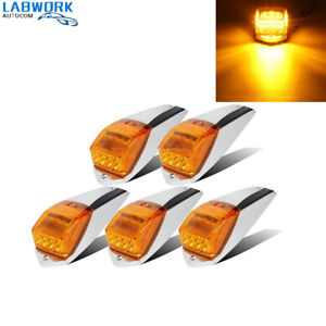 5PCS Amber Chrome 31 LED Cab Marker Lights for Peterbilt Kenworth Freightliner