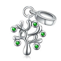 Genuine .925 STERLING SILVER & CZ TREE OF LIFE Pendant European Bracelet Charm