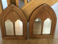 A PAIR OF VINTAGE GOTHIC STYLE PINE/OAK ? MIRRORS IN VERY GOOD CONDITION