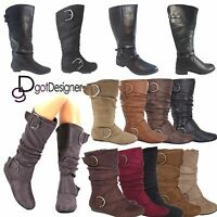 Women's Round Toe Zipper Low Flat Heel Knee High Boots NEW Shoes All Size 5 -10