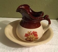 Vintage McCOY POTTERY Pitcher And Basin Bowl Set #7515 Brown / Cream Decal