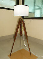 DESIGNER MARINE TRIPOD FLOOR LAMP RETRO VINTAGE TEAK WOOD TABLE LIGHT FLOOR LAMP